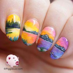 PiggieLuv: Dream landscape nail art