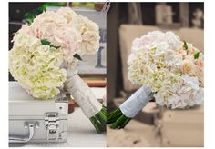hydrangeas and roses bouquet...Love this because my bouquet was very similar!