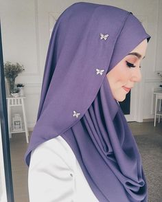 in purple double loop instant from makeup by ❤️ Hijab Tutorial, Hijab Fashion, Adidas Jacket, Athletic, Purple, Makeup, Jackets, Maquiagem, Hijab Fashion Style
