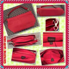 "Wilsons Leather Genuine RED Handbag / Clutch PRE-OWNED. GREAT CONDITION. Carried a few times, Has been in closet.  No flaws I can see. Measures 13""L x 8""H x 4""D at bottom footing. Soft genuine leather has 1"" W handle strap w/Large strong silver clips. Detaches to convert handbag to an original clutch. Attach both clips on one end to carry as hand/arm clutch.  Strap drop approx 8"". Zip Top Closure.  Red fabric lining w/2 large open gusseted pockets trimmed in Red leather on one wall, a…"