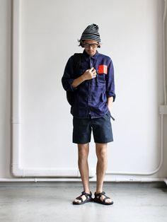 KATO' BASIC Linen Work Shirts Strato