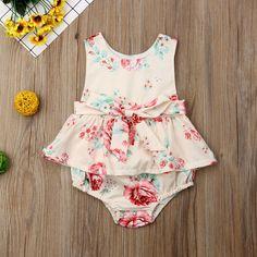 0ee1d0c7fb4b Newborn Baby Girl Ruffle Flower Romper Summer Sleeveless Floral Tutu Dress  Cute Jumpsuit Bodysuit 0-