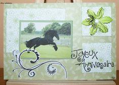 Carte anniversaire, thème cheval, coloris vert et noir