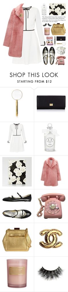 """""""long sleeve tie dress"""" by jesuisunlapin ❤ liked on Polyvore featuring El Casco, Dolce&Gabbana, Ted Baker, PENHALIGON'S, Whistles, Ines de la Fressange, Orla Kiely, Chanel, H&M and HOMMAGE"""