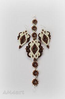 Komplet biżuterii w kolorach brązu i kremu, wykonany metodą haftu SUTACHE