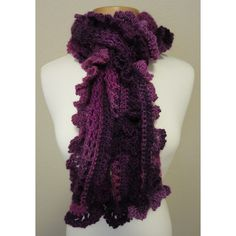 Pink and Purple Crocheted Ruffle Scarf ($40) ❤ liked on Polyvore featuring accessories, scarves, purple shawl, ruffled crocheted scarves, purple scarves, crochet scarves and pink scarves