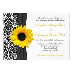 Sunflower Yellow Black White Damask Wedding Announcement