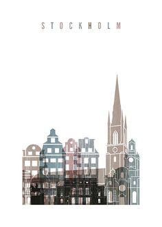 Stockholm Skyline Julisteet ryhmässä Julisteet  / Koot / 50x70 cm @ Desenio AB (2142)