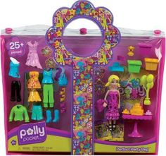 Polly Pocket Designables Perfect Party Bag Polly by Mattel. $39.99. From the Manufacturer                You're invited for fashion play, festivities and of course, cake. Party totes carry Polly dolls with lots of cool fashions and accessories -- plus invitations, party cake, decorations and more. Over 25 pieces in each to celebrate, in giftable and on-the-go vinyl snap-top bags with signature Polly flower handle. Each sold separately.                                  ...