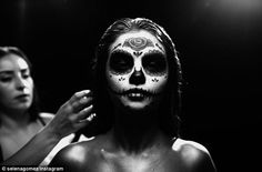 'Revival 16': Selena shared a photo of her wearing Day Of The Dead make-up on Monday as sh...