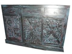 Antique Tribal Sideboard Buffet Tv Stand Blue Patina Hand Carved Chest 59x39x20 by Mogul Interior, http://www.amazon.com/dp/B00BWK6Q2I/ref=cm_sw_r_pi_dp_Qwrsrb154D7PV