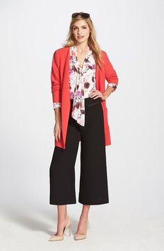 Halogen® V-Neck Topper, Scarf Tie Blouse & Vince Camuto Zip Pocket Culottes available at #Nordstrom