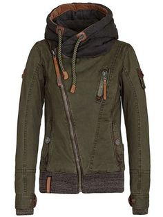 Active Hooded Skew Zippered Long Sleeve Thick For Women Jackets