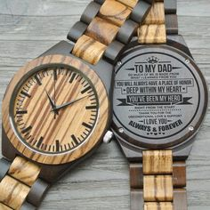 Engraved Zebrawood Wooden Watch - Gifts For Dad Great Engraved Ebony Wooden Watch Gifts For Dad Great Gifts For Dad, Perfect Gift For Dad, Love Gifts, Gifts For Husband, Gifts For Her, Dear Dad, Just Because Gifts, Leather Notebook, Wooden Watch