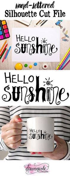 Hand-Lettered Hello Sunshine Silhouette Cut File by ByDawnNicole