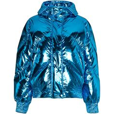 Ienki Ienki Metallic cropped puffer jacket (430 KWD) ❤ liked on Polyvore featuring outerwear, jackets, coats, blue, metallic jackets, cropped puffer jacket, feather jacket, puffy jacket and cropped jackets