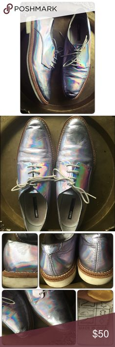 """Miista """"Zoe"""" hologram Leather Oxford flats 40 sz 9 Miista """"Zoe"""" hologram Leather Oxford flats 40 sz 9.  Lots of hologram wear, I've tried to cover and fill in missing hologram from leather with paint.   Sold as is for the toe creasing and paint job. All leather shoe...bendy rubber slip proof sole. Very comfy.  Marked size 40 but fits like a size 9.  If you are a smallish size 9M then these will work for you, Miista Shoes Flats & Loafers"""