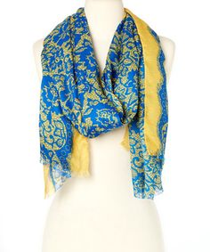 Another great find on #zulily! Yellow & Blue Floral Scarf #zulilyfinds