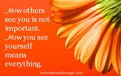 How others see you is not important. How you see yourself means everything ♥  www.neversettleagaininlove.com