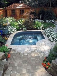 31 Affordable Small Pool Design Ideas For Backyard. The most frequent motive for obtaining a swimming pool is for family fun and leisure. A backyard pool is a  Small Swimming Pools, Small Backyard Gardens, Small Backyard Landscaping, Small Pools, Backyard Patio, Landscaping Ideas, Backyard Ideas, Pool Ideas, Small Backyards