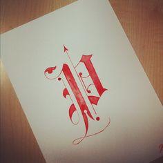 watercolor monogram P ABC