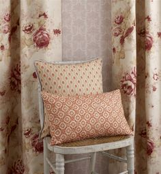 Linen Rose Curtains - Spring Garden |  LF1682C/5 | Rose. Front Cushion - Nara | LF1688C/5 | Clementine. Back Cushion - Kusemoto | LF1686C/6 | Rosehip. How would you use the Sakura collection in your home?