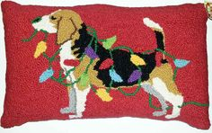 Beagle Hound Dog Holiday Lights Pillow - A Love Of Dogs – For the Love Of Dogs - Shopping for a Cause www.aloveofdogs.com
