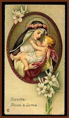 """23 augustus: St. Rosa van Lima (1586-1617), dominicaans mystica en patrones van Noord en Zuid-Amerika, van Peru en van de Filipijnen. """"Bloem van Lima"""", patrones van bloemisten en rozenkwekers. Solidair met iedereen die lijdt, stierf ze aan haar strenge boetedoeningen op 31-jarige leeftijd. Ze werd geïnspireerd door St. Catharina van Siena en werkte samen met St. Martin de Porres. Werkte voor betere leefomstandigheden van arme Indianen."""