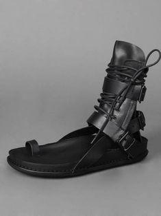 Ann Demeulemeester, black leather wrap sandals
