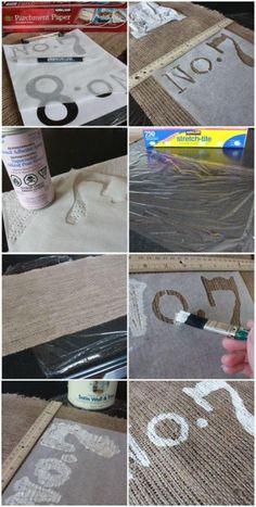 DIY painting on burlap - pillows