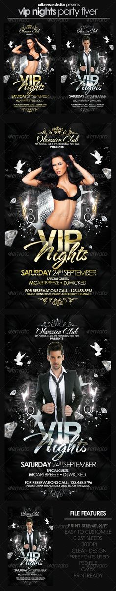 VIP Party Flyer. More info and download: http://graphicriver.net/item/vip-party-flyer/2995238?ref=artbreeze