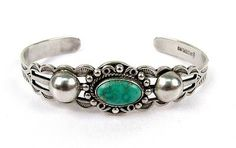 Vintage Native American Maisel's Trading Turquoise Sterling Silver Cuff Bracelet