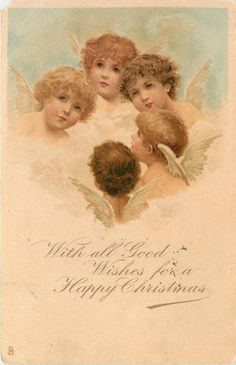WITH ALL GOOD WISHES FOR A HAPPY CHRISTMAS five angels boys look up or left