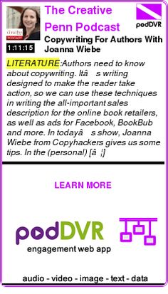 #LITERATURE #PODCAST  The Creative Penn Podcast    Copywriting For Authors With Joanna Wiebe    READ:  https://podDVR.COM/?c=203b0820-6a04-be9f-2c4e-09a3bcabba9a