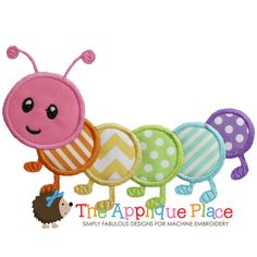 Caterpillar+Machine+Embroidery+Applique+Design+by+TheAppliquePlace,+$3.00