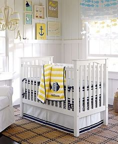 fish fringe out of cardstock and string, row your boat print, bring in yellow accents
