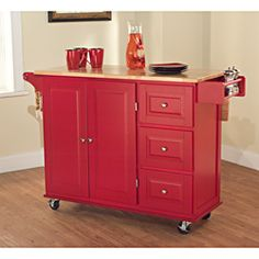 Simple Living Aspen Red/ Natural Three-drawer Cart | Overstock.com Shopping - The Best Deals on Kitchen Carts