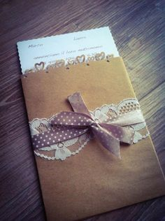 Partecipazioni shabby busta. Wedding invitations with lace. #wedding #wedding invitations