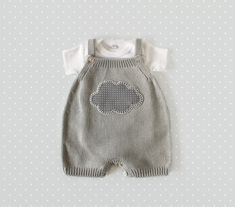 "inmyclosetgr: "" Knitted overalls in gray with a cloud. 100% cotton. READY TO SHIP size newborn. by tenderblue (65.00 USD) http://ift.tt/1sOQNYD """