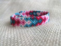 Friendship Bracelet  Red Pink White and Teal Arrow by FriendsnMe, $7.00