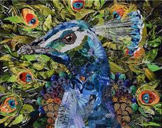 Original art and fine art prints of a peacock made from torn magazines by collage artist Deborah Shapiro Magazine Collage, Create Collage, Collage Artists, Urban, Paper Art, Paper Collages, Paper Crafts, Colorful Pictures, Canvas Artwork