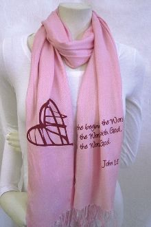 And many more believed because of His word Pashmina Scarf- Pink