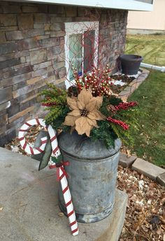 35 Fancy Outdoor Holiday Planter Ideas To Enliven Your Christmas Day - GoodNewsArchitecture by deidre Outside Christmas Decorations, Christmas Planters, Christmas Porch, Rustic Christmas, Christmas Holidays, Holiday Decor, Christmas Ideas, Outdoor Candy Cane Decorations, Holiday Crafts