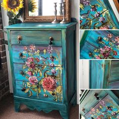Funky Painted Furniture, Decoupage Furniture, Distressed Furniture, Refurbished Furniture, Colorful Furniture, Paint Furniture, Repurposed Furniture, Vintage Furniture, Muebles Shabby Chic