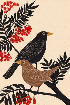 'Blackbirds' by Joanna Lisowiec A selection of bird photos Art And Illustration, Vogel Illustration, Illustrations, Kunst Inspo, Art Inspo, Bird Design, Linocut Prints, Bird Prints, Bird Art