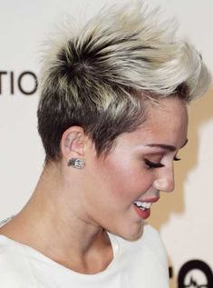 Myley Cyrus' Radical Pixie Haircut with Spiky Top Section