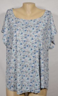 RUFF HEWN White/Blue Patterned Top 2X Slight Cap Sleeves 100% Cotton Casual #RuffHewn #Top #Casual