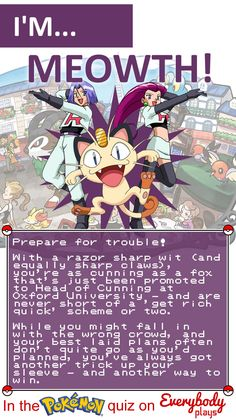 I got Meowth in the awesome Everybody Plays Pokemon quiz - but which will you be?