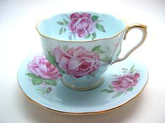 Aynsley tea cup and saucer  Blue teacup and by AntiqueAndCrafts