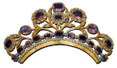AMETHYST AND TURQUOISE HEAD ORNAMENT c1815. Designed as a series of amethyst and turquoise cluster flowerheads, with turquoise-studded filigree leaves, to the two-row arched band. (Likely a comb fitting, but it doesn't specify. Via Christie's)